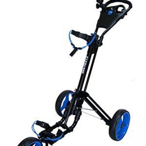 QWIK-FOLD-Chariot--3-Roues-Chariot-De-Golf--Pousser--Tirer-Frein-Au-Pied-Une-Seconde-Pour-LOuvrir-Et-Le-Fermer-NoirBleu-0