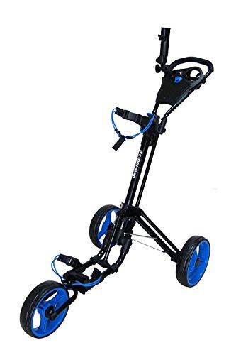QWIK-FOLD-Chariot–3-Roues-Chariot-De-Golf–Pousser–Tirer-Frein-Au-Pied-Une-Seconde-Pour-LOuvrir-Et-Le-Fermer-NoirBleu-0