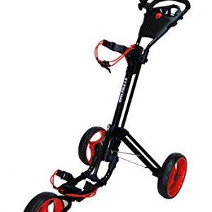 QWIK-FOLD-Chariot--3-Roues-Chariot-De-Golf--Pousser--Tirer-Frein-Au-Pied-Une-Seconde-Pour-LOuvrir-Et-Le-Fermer-NoirRouge-0