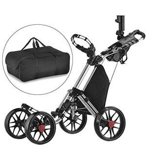 Caddytek-facile-pliage-roue-de-chariot-de-golf-4-pousser-tirer-et-avec-le-sac-dentreposage-SILVER-0