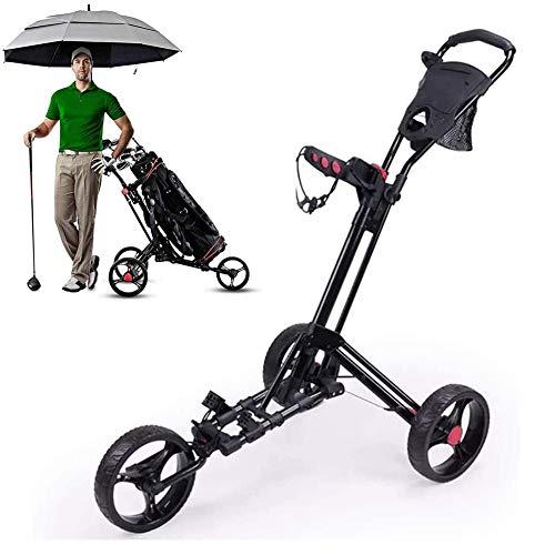 Starsmyy-Chariot-De-Golf-3-Roues-Pliable-Noir-Chariot-De-Golf-Lger-Chariot-De-Golf-avec-Poigne-Rglable-Frein–Pied-Tableau-De-Bord-Facile–OuvrirFermer-0