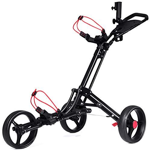 Costway-Chariot-de-Golf-3-Roues-Pliable-Noiravec-Porte-Parapluie-et-Porte-Tee-en-Aluminium-Frein-au-Pied-et-Poigne-Rembourre-Ajustable-0