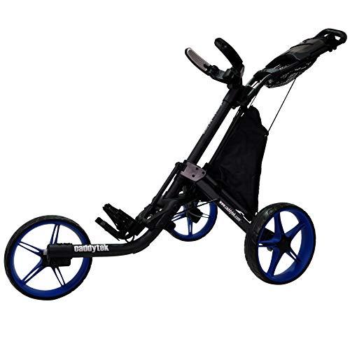 CaddyTek-EZ-Tour-Quickfold-Deluxe-Chariot-de-golf-3-roues-pliable-complet-avec-sac-isotherme–Modle-2020–Qualit-allemande-NoirBleu-0